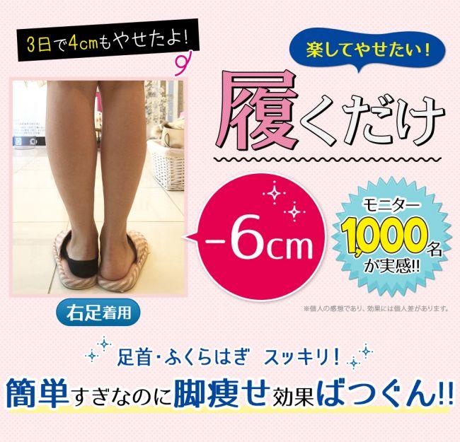 ビキャクイーンを履いて脚痩せした女性の足